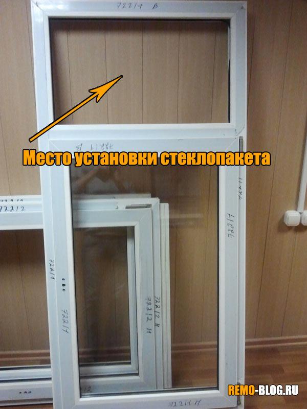 Место установки стеклопакета