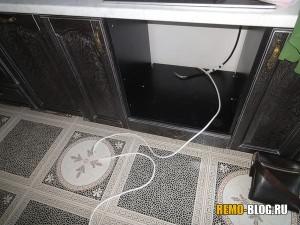 вывод кабеля к варочной поверхности