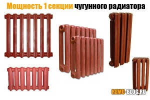 Мощность 1 секции чугунного радиатора